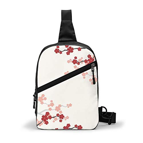 Red Oriental Cherry Blossoms On Ivory And Chinese Wedding Double Happiness Chest Bag Crossbody Sling Backpack Outdoor Travel Hiking Shoulder Bag Daypack Backpack for Men Women