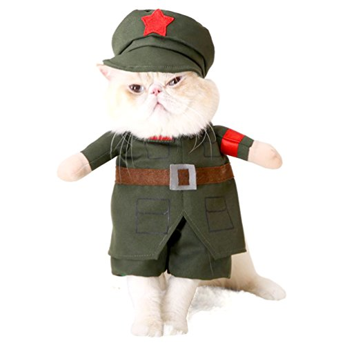 Smalllee _ Lucky _ Store piccolo cane vestiti per bambina, gatto cane soldato costume con cappello militare cappotto verde per tutte le stagioni