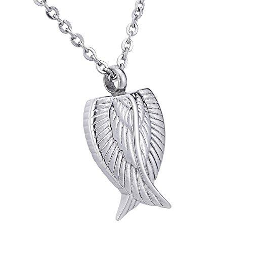 HooAMI 【刻印可】 手元供養 メモリアルペンダント 防水中空 天使の翼 ペンダント ネックレス ステンレス 遺骨ペンダント シルバー 30mmx16mm