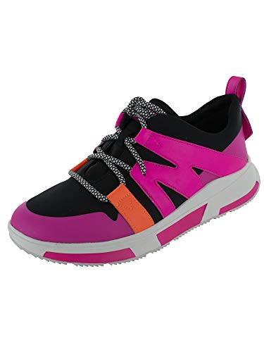 FitFlop Womens Carita Neon Sneakers Shoes, Black Mix, US 9