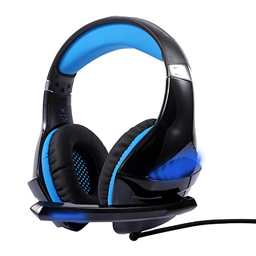 Gaming Headset for PS4, PC, Xbox One Controller, with 7.1 Surround SoundNoise Cancelling Over Ear Headphones Mic, LED Light, Bass Surround, Soft Memory Earmuffs for Laptop Mac Nintendo Switch Games Electronics Features Headphones Over-Ear