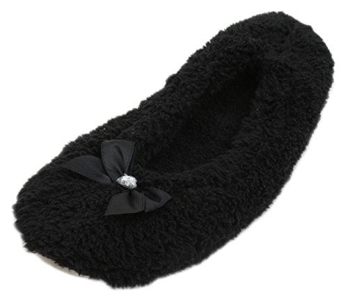 KS , Damen Hausschuhe, Schwarz - schwarz - Größe: 5-6 UK