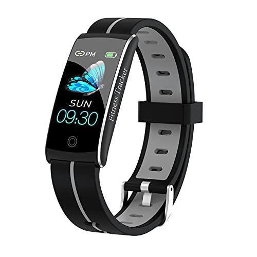MARSPOWER Fitness Tracker Activity Tracker Pulsera Inteligente con Monitor de Salud Sport Smartwatch Contador de calorías, Contador de Pasos, podómetro para Hombres y Mujeres - Negro Gris