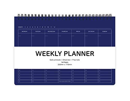 Elite Check Weekly Planner - Wirebound Undated Weekly & Daily Scheduler, Check Box, Free Note / 9.84 x 6.69 inches (Navy)