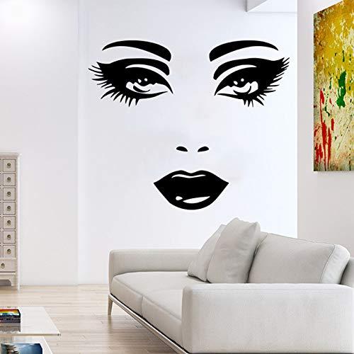 jiuyaomai Frau Gesicht Wandtattoo Augen Ansicht Vinyl Wandaufkleber Mädchen Schlafzimmer Dekoration Innen Schönheit Salon Dekoration A40x48cm