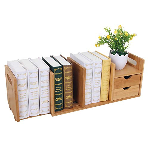 Boek Storage Rack, Bamboe Houten Plaat Uitschuifbare Desktop Opslag Plank met 2 Laden voor Bureau Interieur Decoratie Boek-Maken voor Huis en Office Desktop Boekenplank (80 * 18 * 21cm)