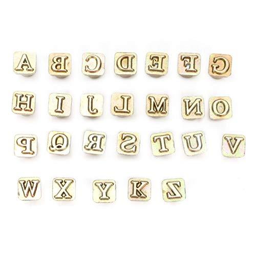 Shipenophy Sello Alfabeto Herramienta de Troquelado Perforación de Letras Sello de Metal Herramienta de Sello de Cuero Artesanía Hecha a Mano Fabricación de Cuero