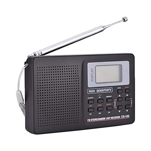 Receptor de frecuencia Completa Receptor de Sonido de Radio Receptor de Radio con Reloj Despertador FM/Am/SW/LW/TV(Valor de Paso 9K)