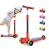 MEGAWHEELS 3-Wheeled Scooter for Kids, PU Wheel with LED Lights, Adjustable Lean-to-Steer Handlebar, Ride with Brake for Toddlers Boys & Girls Ages 2-12 Years Old Color Red