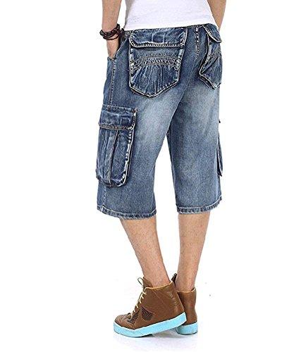 Mannen Plus Maat Lose Baggy Short Jeans voor mannen Boy Hip Hop Skateboard broek voor rapper Rap broek Blue Hip Hop Large 30-46