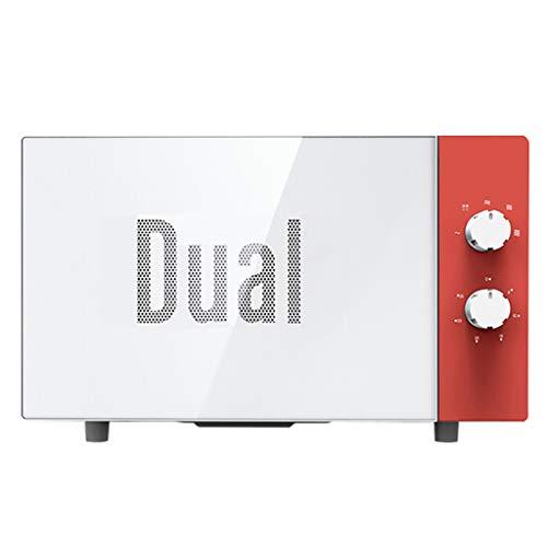 Horno de microondas giratorio, 0.7 pies cúbicos, acero inoxidable, gabinete blanco, horno mecánico pequeño retro incorporado para el dormitorio, blanco (color : Red)