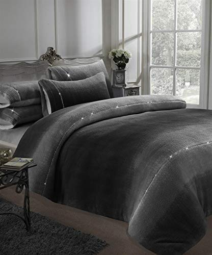 Olivia Rocco Ombre Teddy Duvet Cover Set Super Soft Warm Diamante Thermal Fleece Sherpa Quilt Covers, Double Grey
