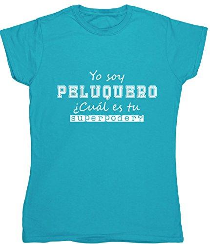 Hippowarehouse Yo Soy Peluquero, ¿Cuál es tu Superpoder? Camiseta Manga Corta Ajustada para Mujer