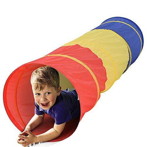 BAKAJI Tenda Tunnel Giocattolo per Bambini Pieghevole Chiusura Pop Up Gioco Esterno Giardino Casa Dimensione 48 x 180 cm (Muticolore)