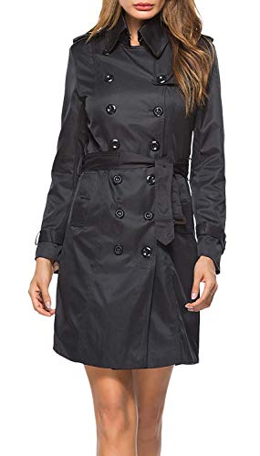 Trenchcoat Classic Lange modieuze damesjas, met twee rijen, modern merk, lange mouwen, herfst, lente, revers, slim fit, vintage, elegant
