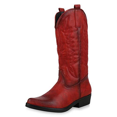 SCARPE VITA Damen Cowboystiefel Stickereien Western Stiefel Cowboy Boots 173420 Rot 40