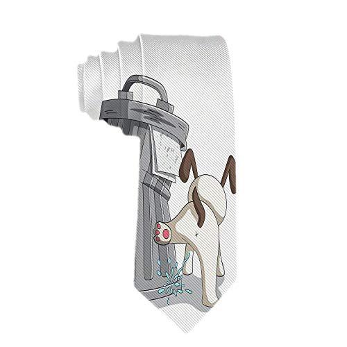 Heren Moderne Formele Ties Jonge Hond Is Peeën Op Een Vuilnisbak Patroon Geweven Necktie