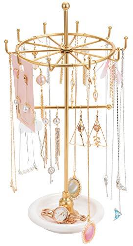 Soporte giratorio para collar de joyería con forma de torre para colgar pendientes, organizador de joyas con base redonda de mármol,...