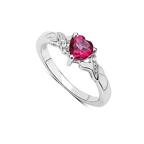 The Pink Topaz Ring Collection: Beautiful Sterling Silver Heart Shaped Pink Topaz Engagement Ring with Diamond Set Shoulders (Size T)