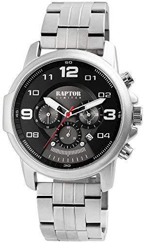 Raptor Limited Herren-Uhr Edelstahl Chronograph Leuchtzeiger Analog Quarz RA20280 (silberfarbig/schwarz)