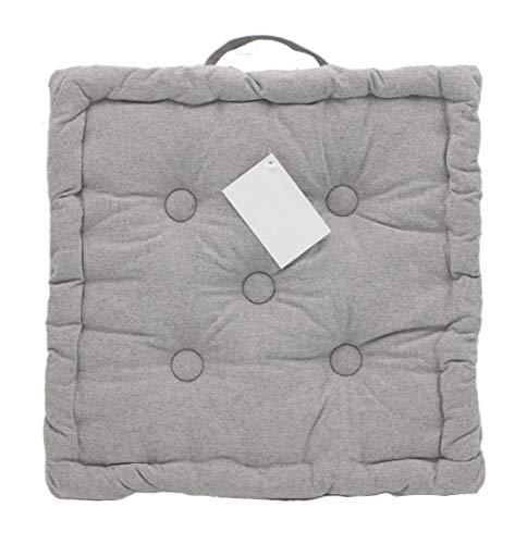 Cojin para Silla para Interior y Exterior de 100% algodón cojín Acolchado/cojín para el Suelo (Gris, 1)
