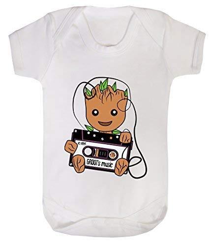 Colour Fashion Groot's Musique Rétro Cassette Superhéros Bodys Bébé 100% Cotton 0-24 - Blanc, 3-6 Months