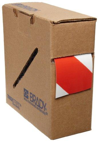 Brady - 104318 ToughStripe Nonabrasive Diagonal Stripes Floor Marking Tape, 100 Length, 2 Width, Red on White (Pack of 1 Roll)