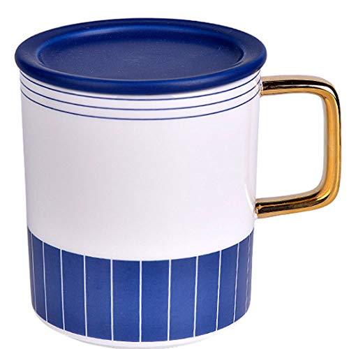 Céramique Tasse Tasse Avec Couvercle Cuillère Coupe Café En Céramique Petit Déjeuner Hommes Et Les Femmes Simple Bureau De La Coupe 420ml