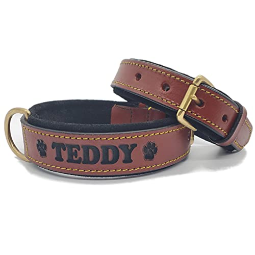 BlazingPaws Pawficer Soft Padded Personalized Heavy Duty Thick Leather Dog Collar with Engraved Name, Brown with Black Suede Padding (M/L: 14-17', Brown - with Engraved Name)