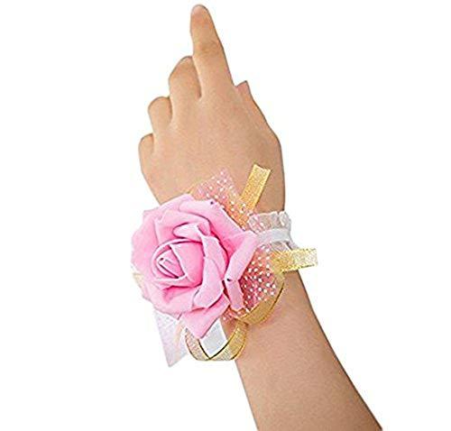 Pulsera de novia de la marca WeiMay, con rosa. Pack de 3 rosa rosa