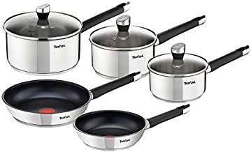 Tefal E823S524 5Pieces Emotion Cooking Set, Silver, W 52.4 x H 36.2 x D 19.0 cm, Stainless Steel