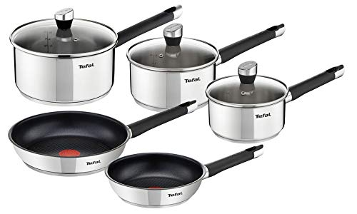 Tefal Emotion E823S524 5-Piece Stainless Steel Induction Cookware Set with 2 Frying Pans 20/24 cm + 3 Saucepans 16/18/20 cm + 3 Glass Lids