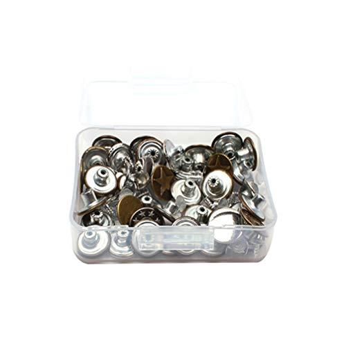 SUPVOX 40 Piezas Botones de Jean de Repuesto Botones de Hierro Botones de Tirantes de Metal con Caja para Accesorios de Costura de Chaqueta de Jean 17 Mm