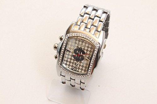 vintage13.de Armbanduhr Herrenuhr Quartz MD Watch Utica No. 10093 Silber rundum mit Steinen