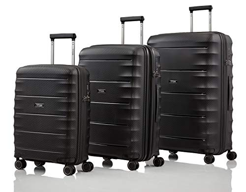TITAN 4-Rad Koffer Set Größen L/M/S mit TSA Schloss, Bordtrolley erfüllt IATA-Bordgepäckmaß, Gepäck Serie HIGHLIGHT: TITAN Hartschalen Trolleys im Carbon Look, 842102-01, black (schwarz)
