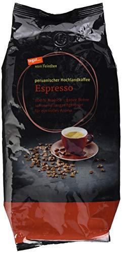 Tegut vom Feinsten Espresso ganze Bohnen 1 kg - peruanischer Hochlandkaffee - Bio 100 % Arabica Röstkaffee aus kontrolliert ökologischem Anbau - Naturland zertifiziert