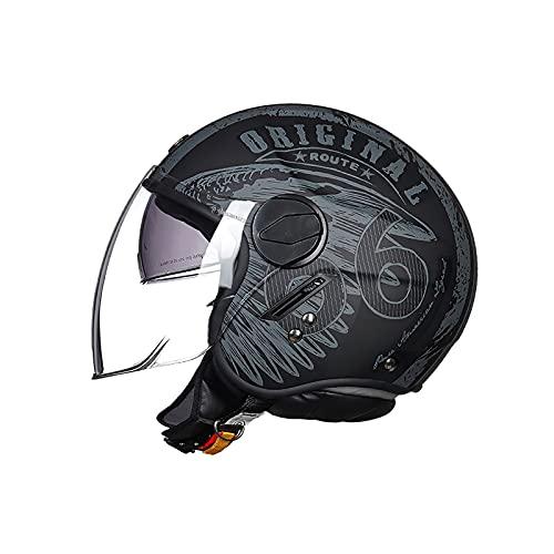 LIONCIANO Casco De Moto Jet Abierto Dot Homologado, Casco Moto De Scooter, Cabeza Anticolisión De Casco para Mujer Hombre Adultos con Visera(Negro Mate Ruta 66, L=57-58cm)