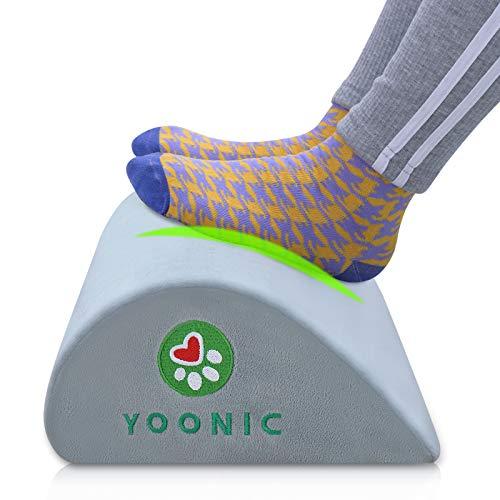 YOONIC Ergonomic Foot Rest for Under Desk Provide Leg Support at Work-Non-Slip Bottom -High Rebound Foam-Teardrop Design-Comfort Footrest Pillow for Computer,Travel,Home(Teardrop Grey)