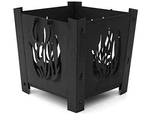 HAFIX Feuerkorb quadratisch mit Flammenoptik. Feuerschale Feuerstelle für Garten und Terasse 34x34cm/38x38cm.