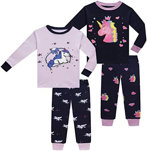 Little Girls Pajamas Set for Toddler Cotton Clothes 4 Pieces Unicorn 4T Sleepwear Kids Casual product image
