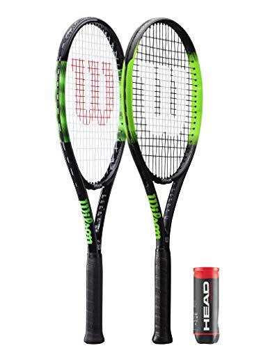 Wilson Blade Feel Raqueta de tenis + 3 pelotas de tenis de campeonato (varias opciones disponibles) (Blade Feel 105 + pelotas)
