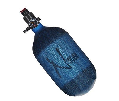 Ninja Paintball Compressed HPA Air Tank w/Adjustable Regulator ALL COLORS/SIZES 68/4500 Carbon Std Adj Reg Translucent Blue 68ci