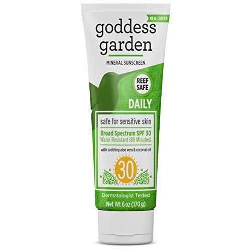 Goddess Garden - Daily SPF 30 Mineral Sunscreen Lotion - Sensitive Skin, Reef Safe, Sheer Zinc, Broad Spectrum, Water Resistant, Non-Nano, Vegan, Leaping Bunny Cruelty-Free - 6 oz Tube
