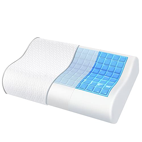 Memory Foam Pillow for Sleeping, Ergonomic Neck Pillow for Neck Pain Gel-Infused Cervical Pillows for Back, Stomach, Side Sleepers, Contour Pillow with Washable Pillowcase