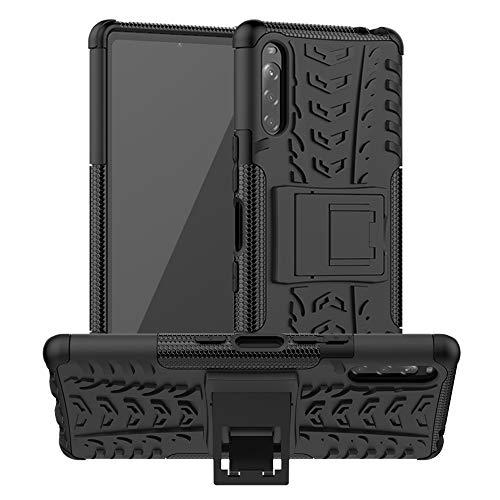 LiuShan Compatible avec Sony Xperia L4 Coque,Shockproof Robuste Impact Armure Hybride Béquille Coque Étui Couverture pour Sony Xperia L4 Smartphone(Non Compatible avec Xperia L1/L2/L3),Noir