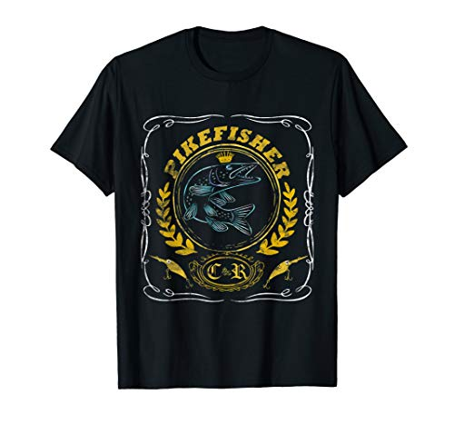 Hecht-Angler T-Shirt Angeln Geschenk Esox C&R Pike Wobbler