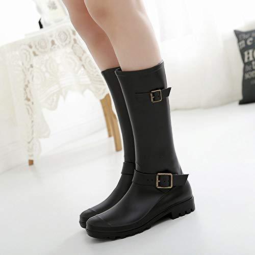 Wellies Gummistiefel Stiefel,Koreanischer Mode Trend Leggins Regen Regen Bfashion Hohe Stiefel Stiefel Schnalle Koreanischen Wasser Schuhe...
