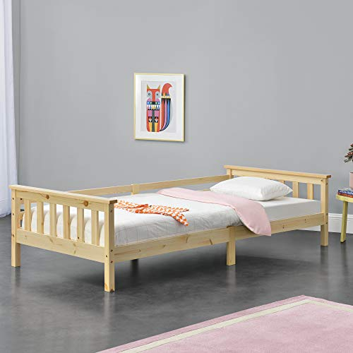 [en.casa] Kinderbett mit Stauraum 90x200 cm Jugendbett bis 100 kg mit Lattenrost Kojenbett Kiefernholz Natur