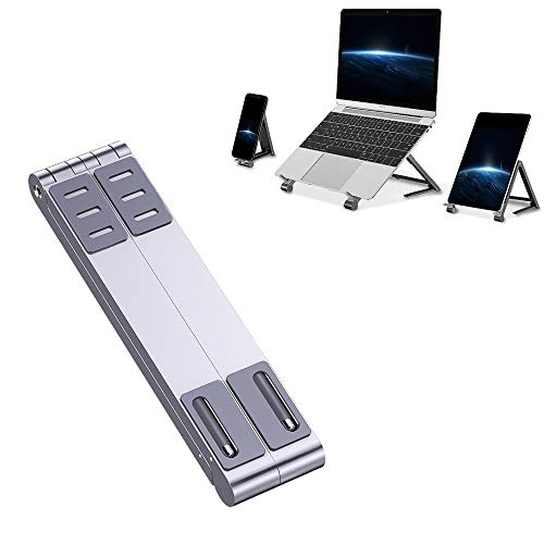 YANTAIAN Laptop accessories Metal Laptop Stand Computer Cooling Folding Mini Flat Raised Bracket (Color : Silver)