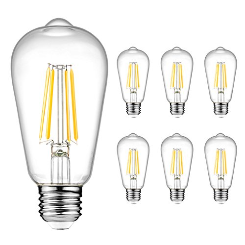 Ascher Vintage LED Edison Bulbs 6W, Equivalent 60W Incandescent, Warm White 2700K, ST58 Antique LED Filament Bulbs, E26 Medium Base, Non-Dimmable, Clear Glass, 6-Packs
